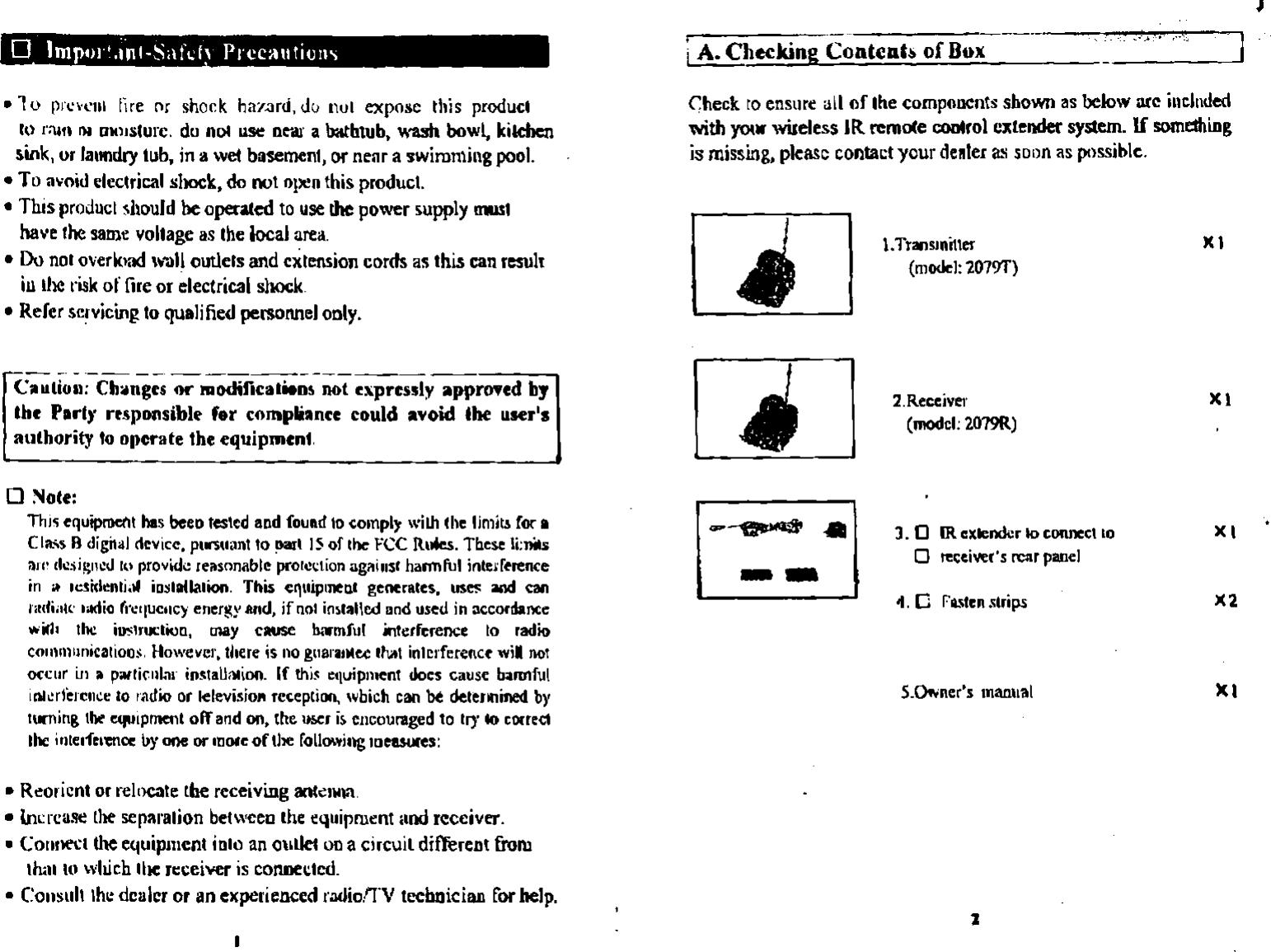 Jesmay Electronics Co Jm2079t Ir Remote Control Extender User Manual Checking