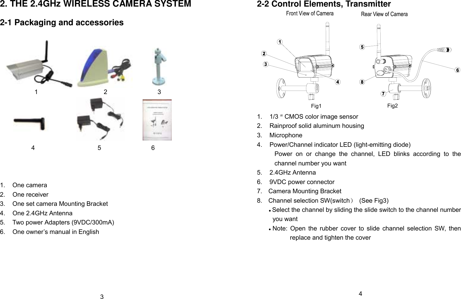 Jesmay Electronics Co Jm2176t 24ghz Wireless Camera System User Diagram The 2 1 Packaging And Accessories