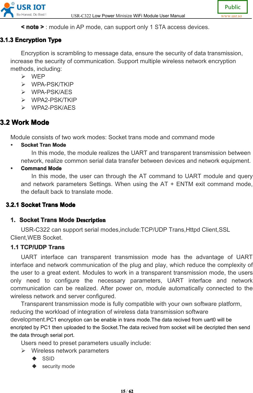Jinan USR IOT Technology USRC322 Serial to WIFI Module User