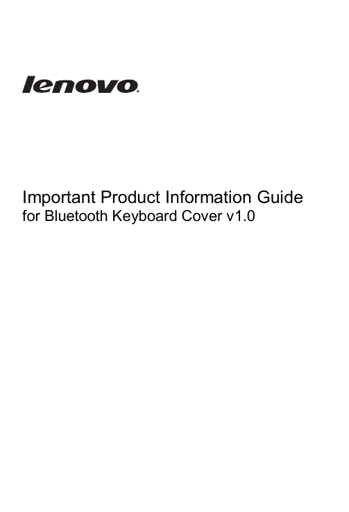 Important Product Information Guide for Bluetooth Keyboard Cover v1.0