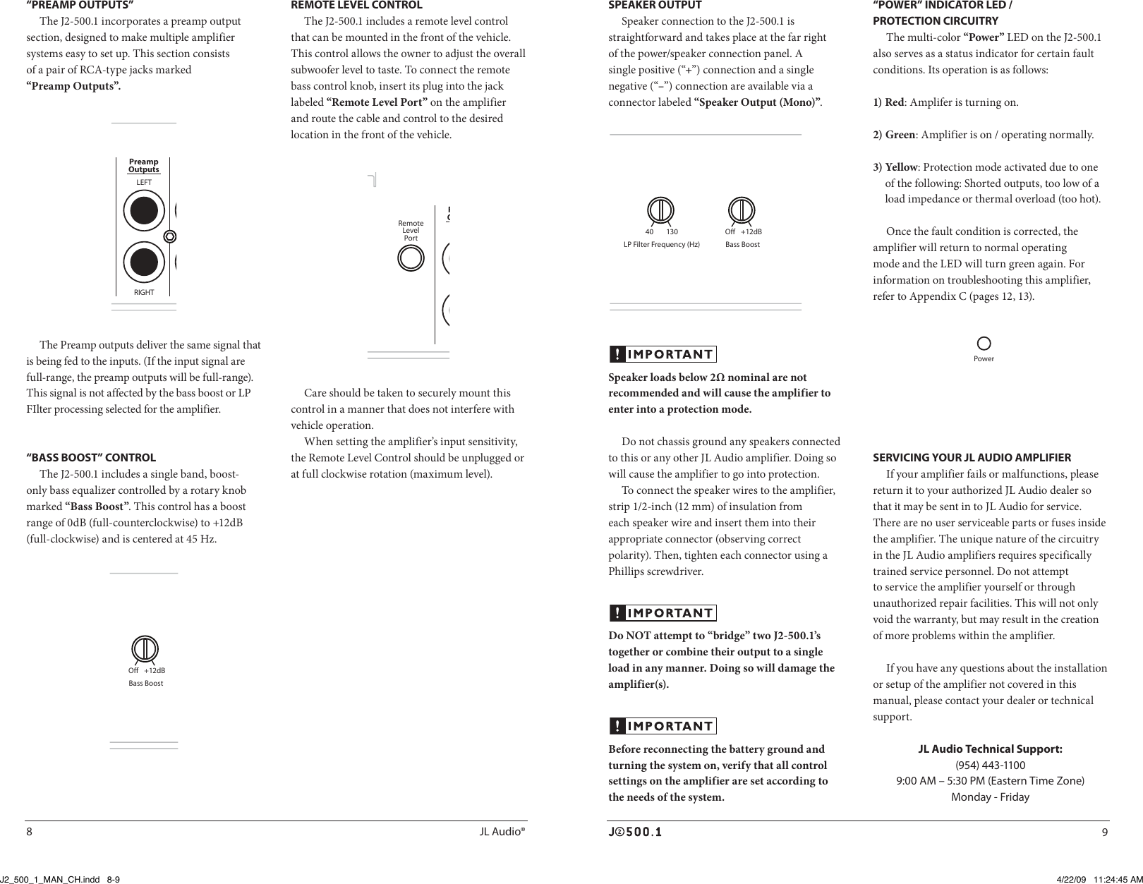 Jl Audio J2500 1 Users Manual 500 Wiring Page 5 Of 9