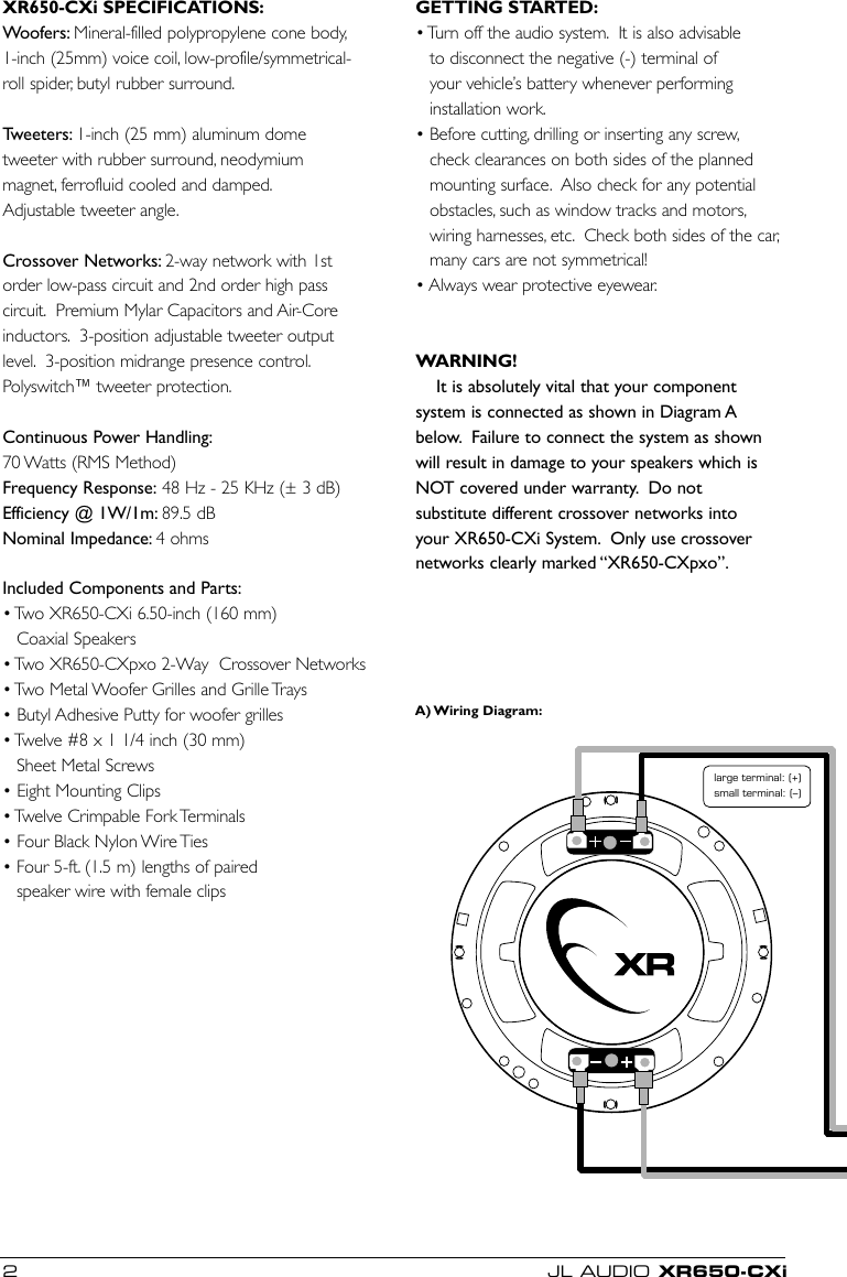 Jl Audio Xr650 Cxi Users Manual