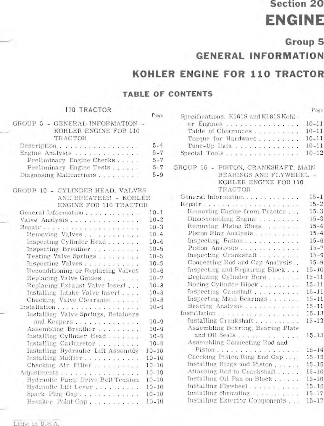 John Deere Products And Services Lawn Mower 110 Users Manual 1