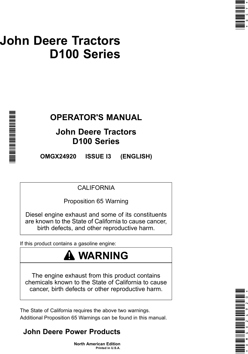 john deere products and services lawn mower d100 users manual