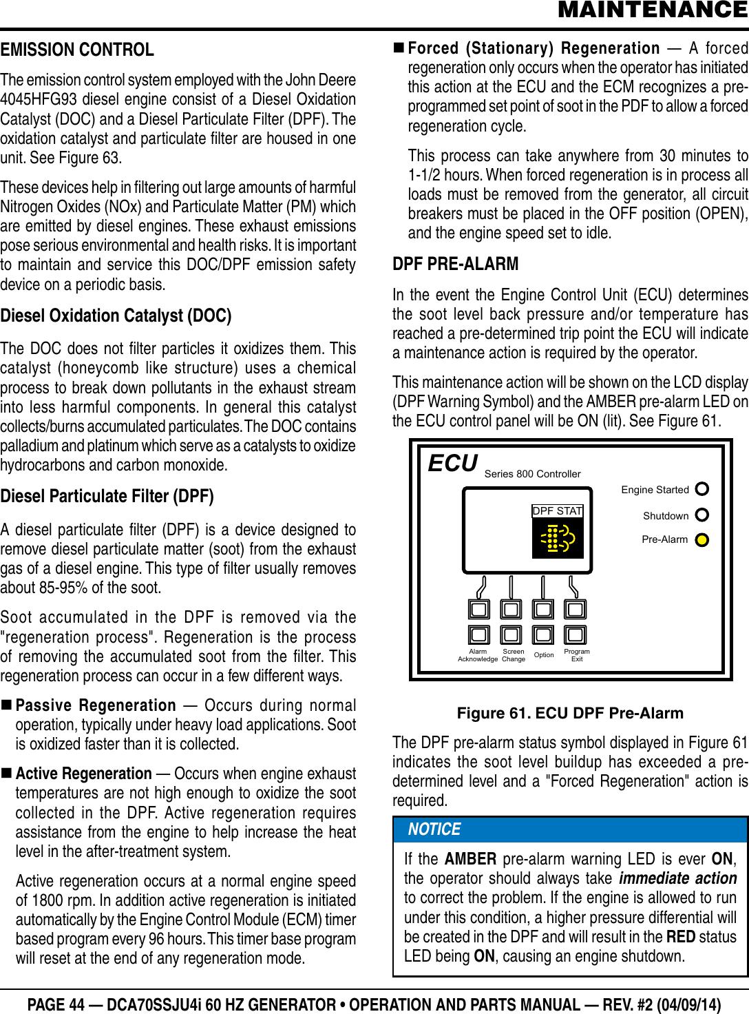 John Deere Products And Services Portable Generator Dca70Ssju4I