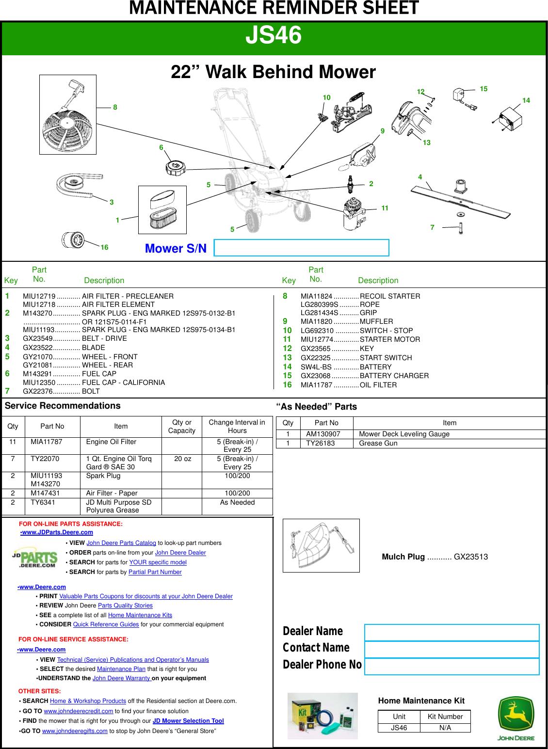 John Deere Js46 Users Manual
