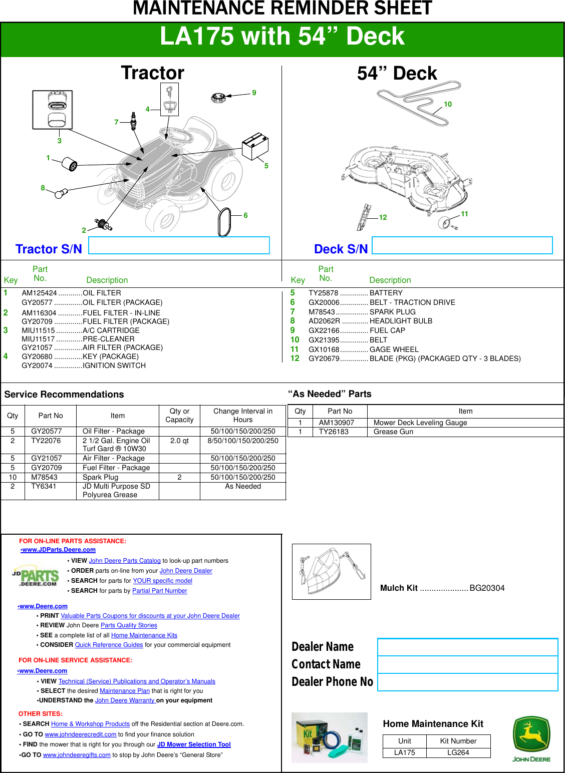 John Deere La175 Parts Diagram