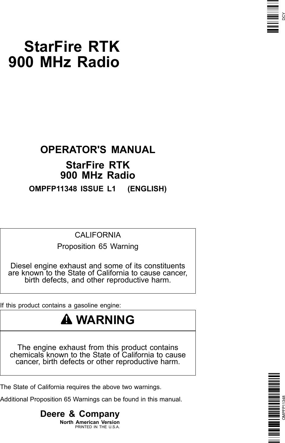 John Deere Starfire Rtk Ompfp11348 Users Manual 950 Wiring Diagram On 790