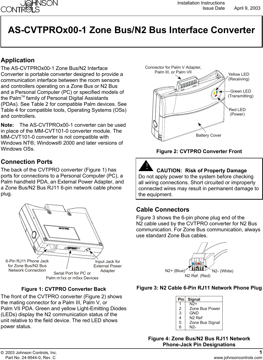 Johnson Controls As Cvtprox00 1 Users Manual 0 Zone Bus N2 Cable Wiring Zones Interface Converter Installation Instructions
