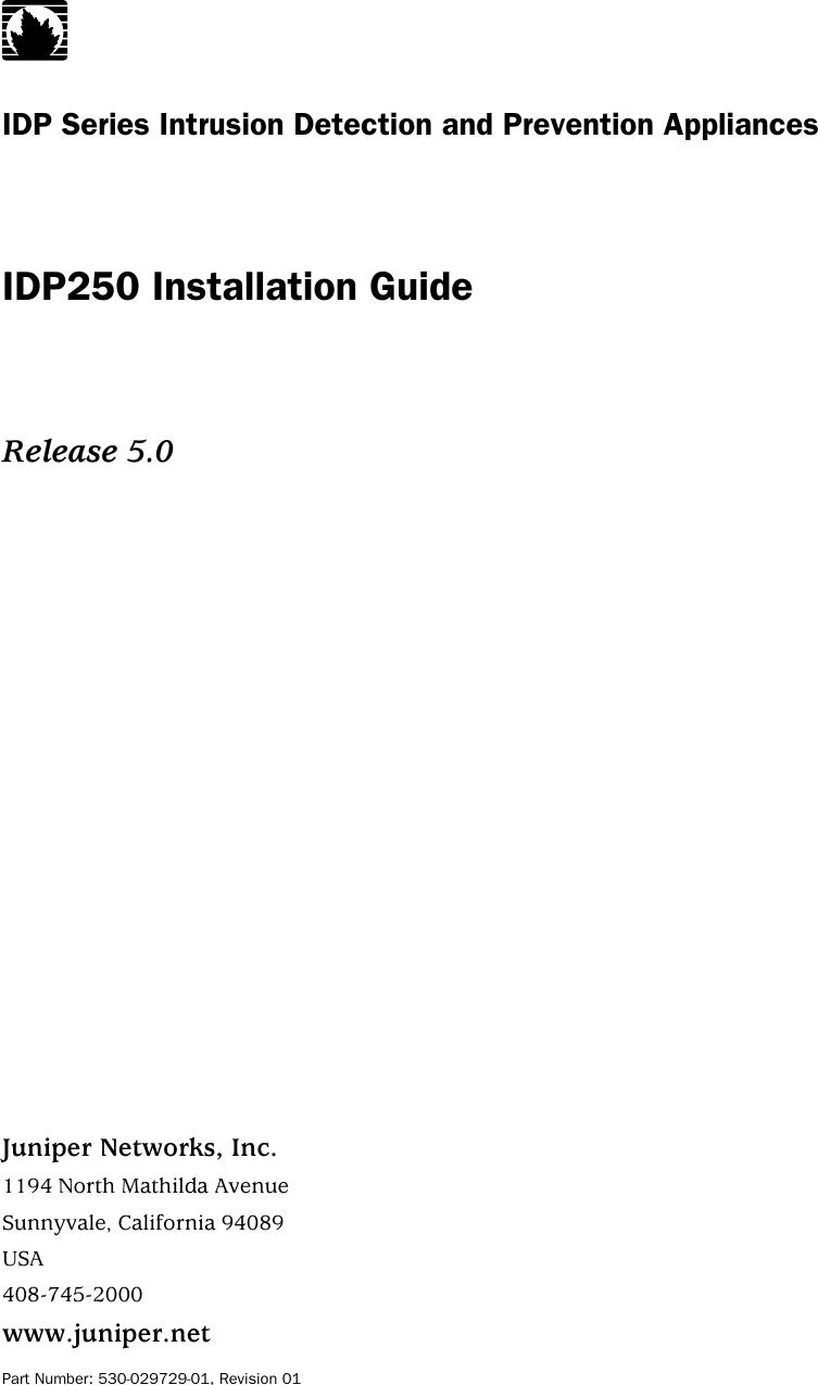 Juniper Networks Idp Series Idp250 Users Manual END USER