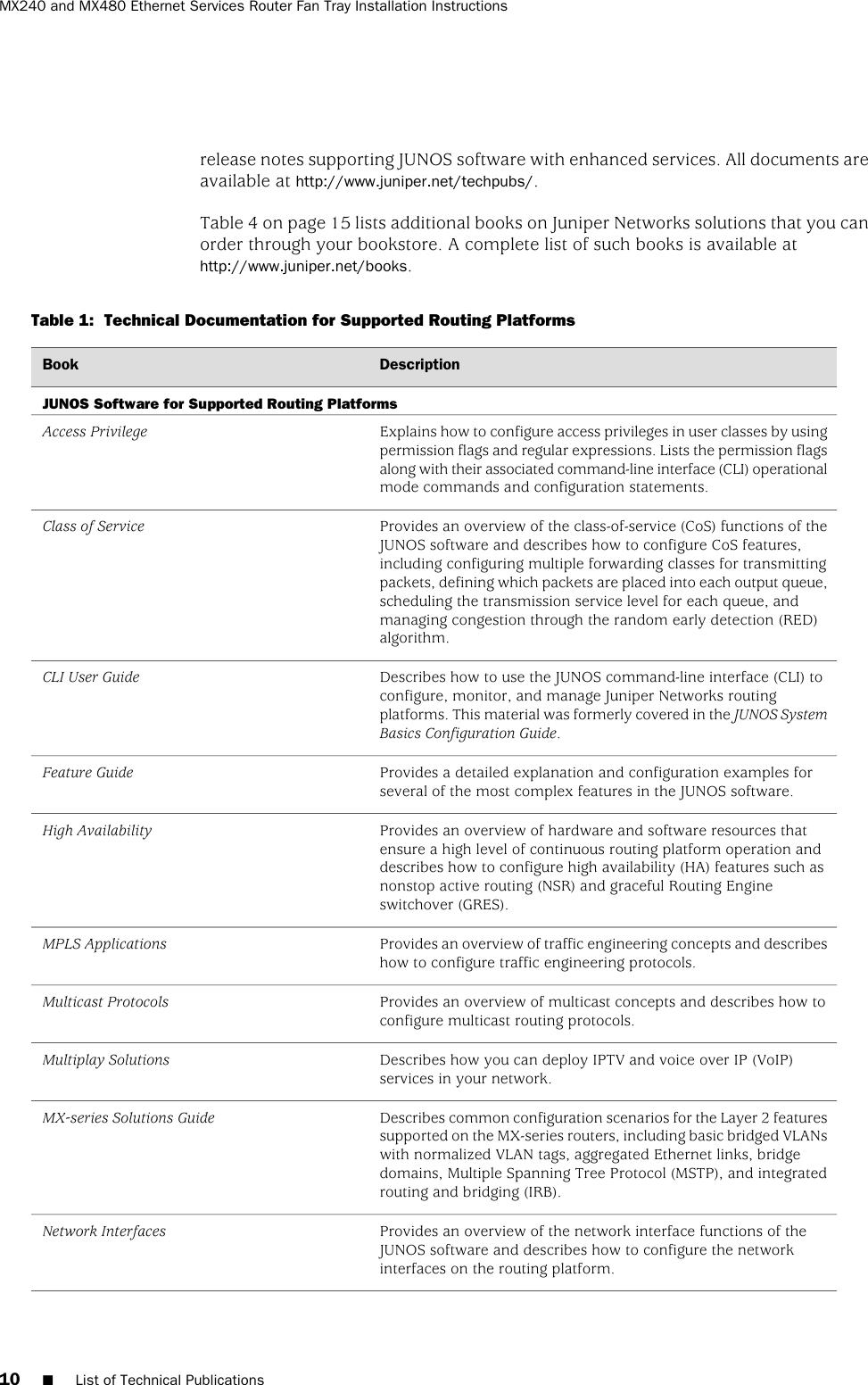 Juniper Networks Mx Series Mx240 Users Manual