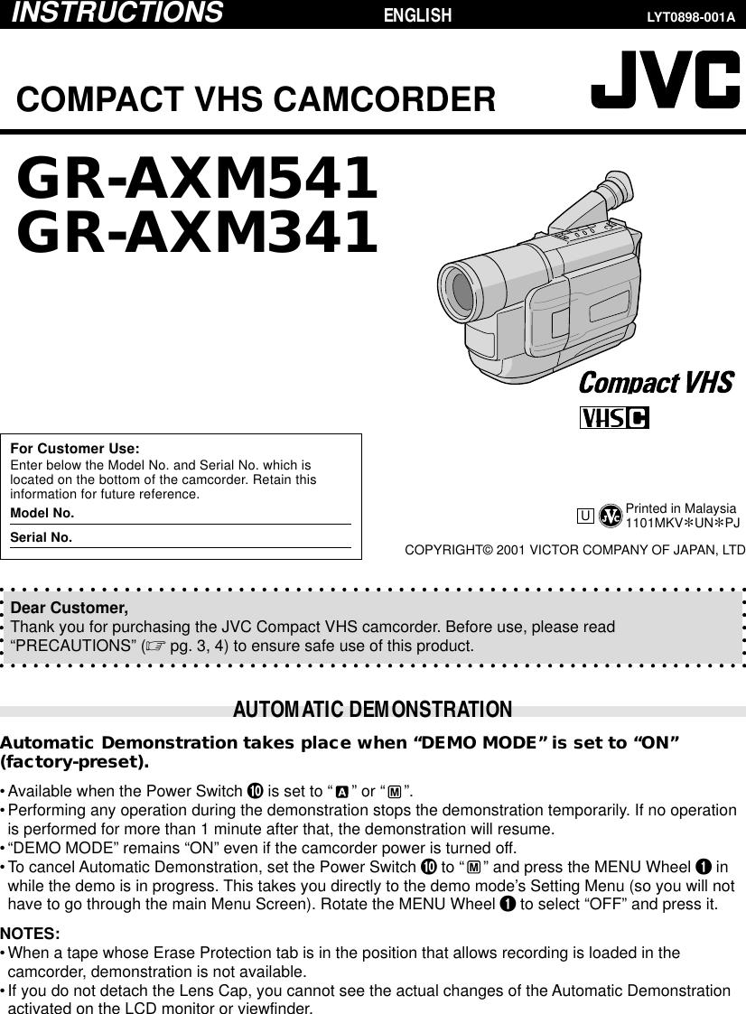 Jvc Gr Axm341 Users Manual AXM541/AXM341U