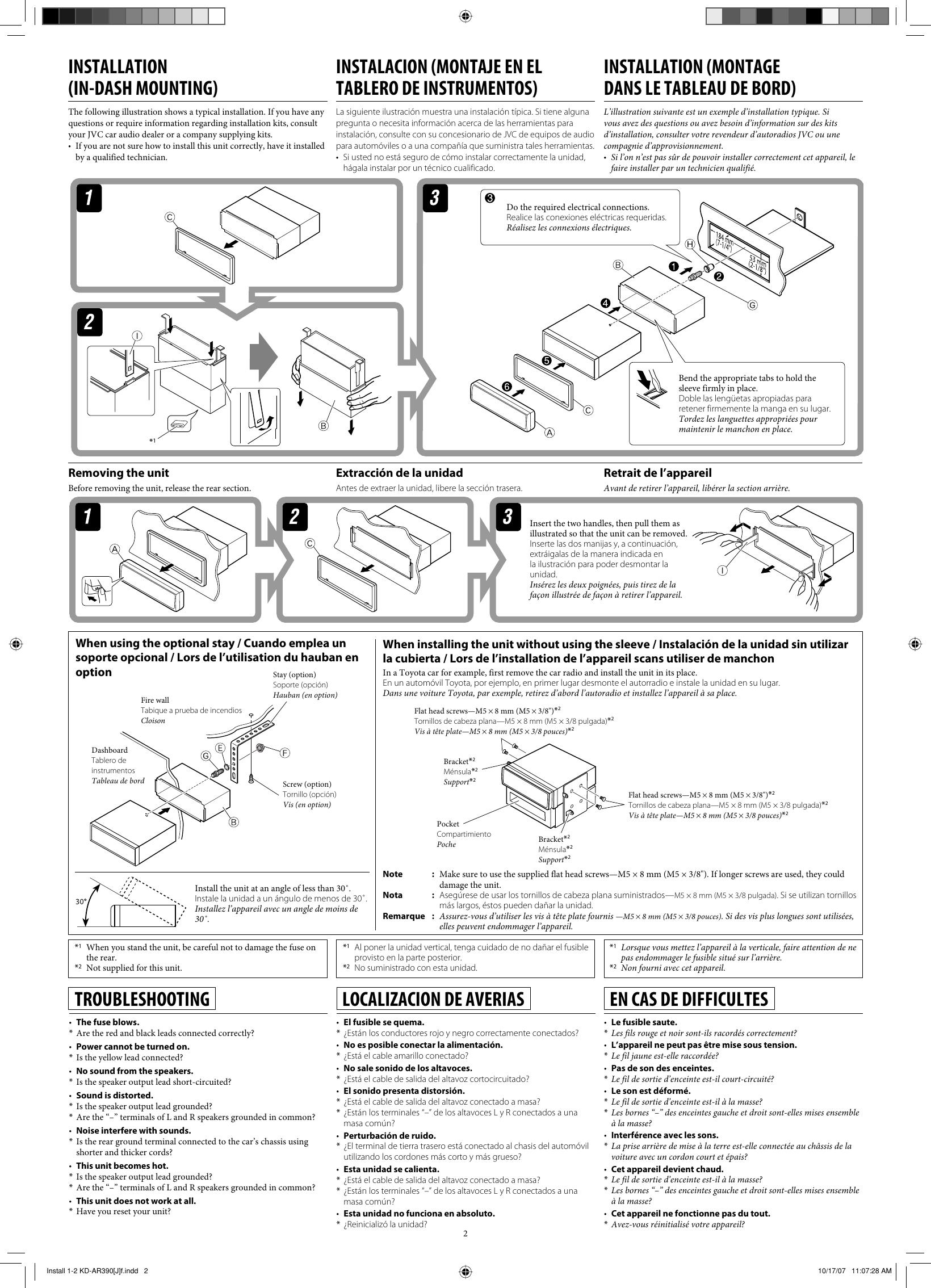 Jvc Kd G340 Installation Manual Install 1 2 AR390[J]f Jvc Kd G Wiring Diagram on