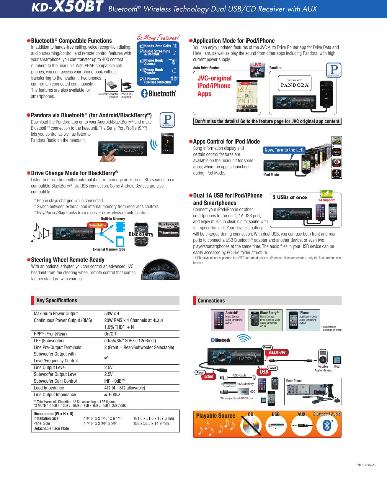 Jvc Kd X50Bt Specification Sheet X50BT_Tech_a