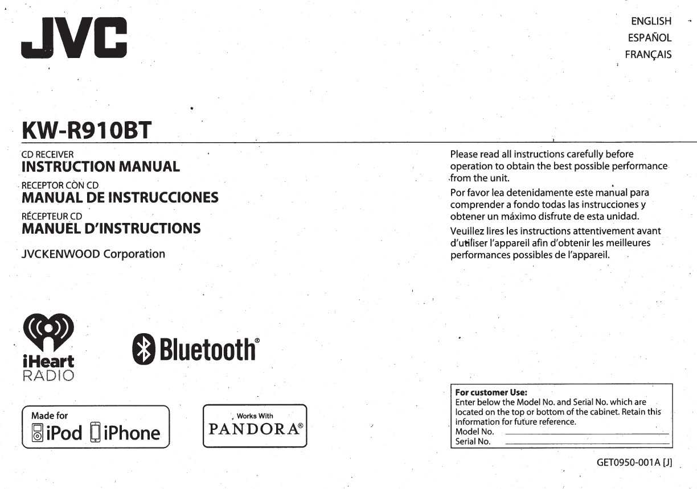 jvc kw r910bt instruction manual manualslib makes it easy to find JVC KW- R500