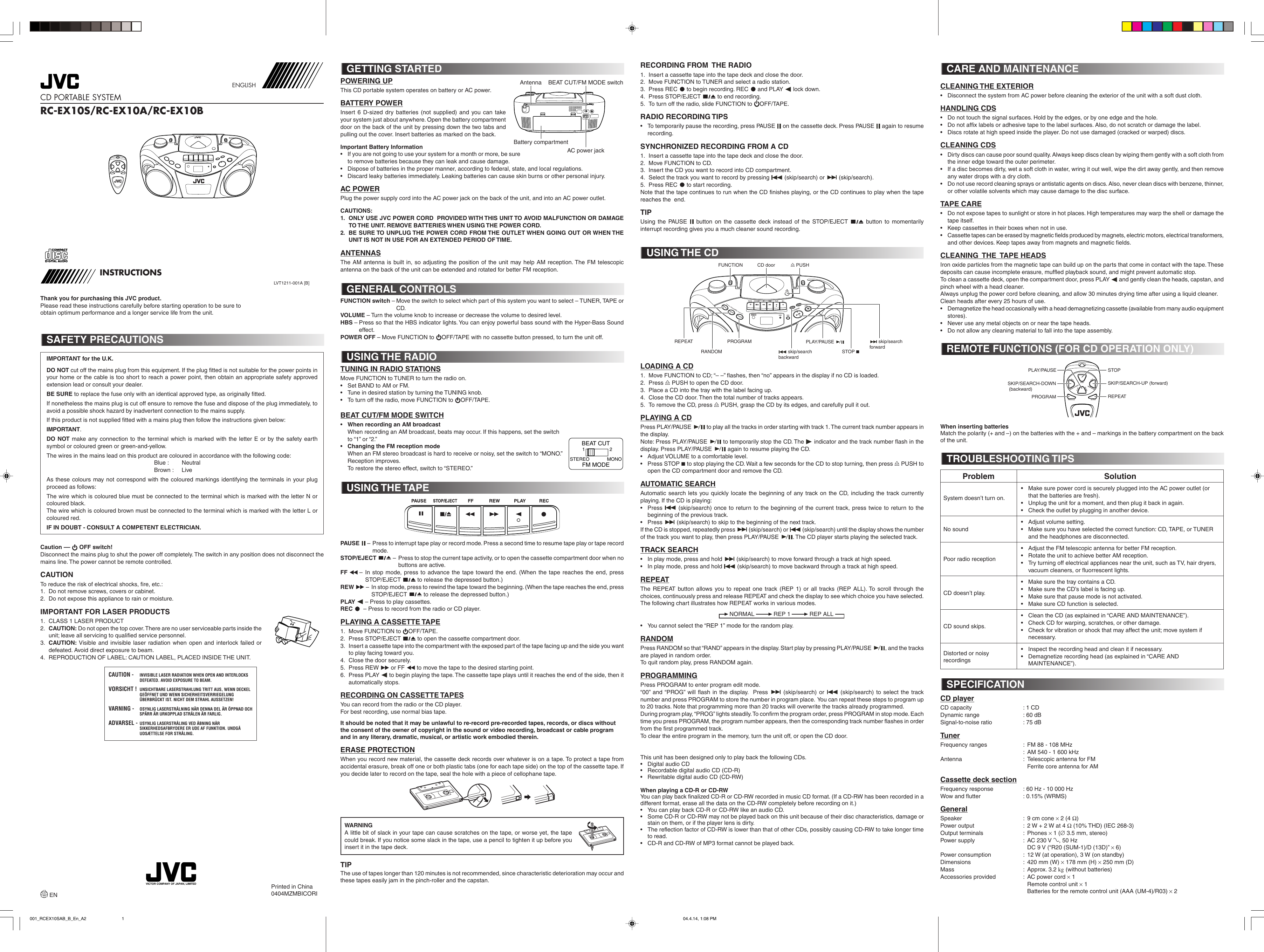 Page 1 of 3 - Jvc Jvc-Rc-Ex10A-Users-Manual-