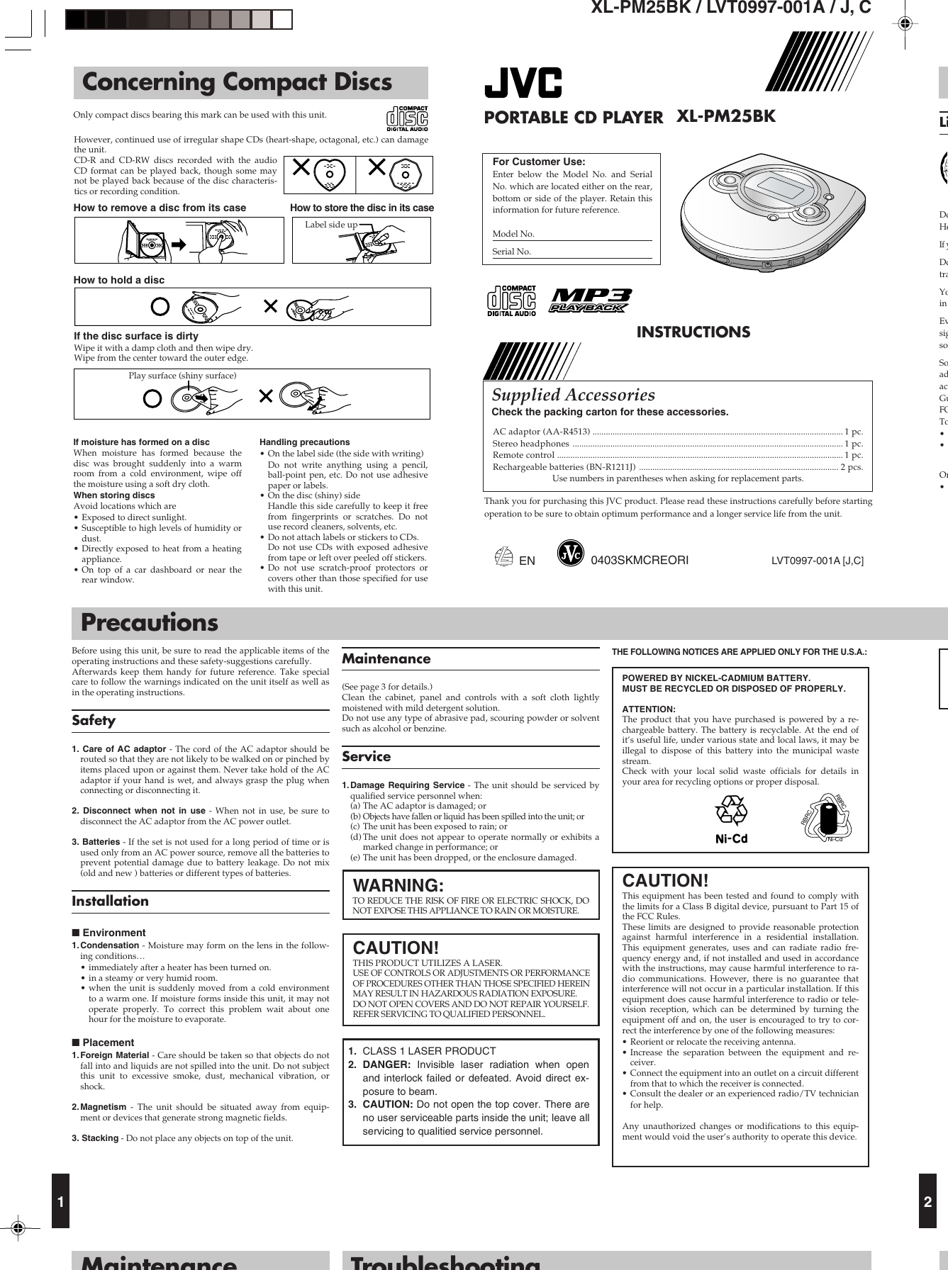 Jvc Xl Pm25Bkc Users Manual PM25BK[J,C]