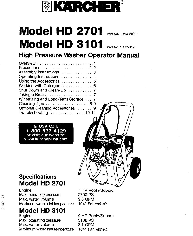 KARCHER Power Washer, Gas Manual L0607335