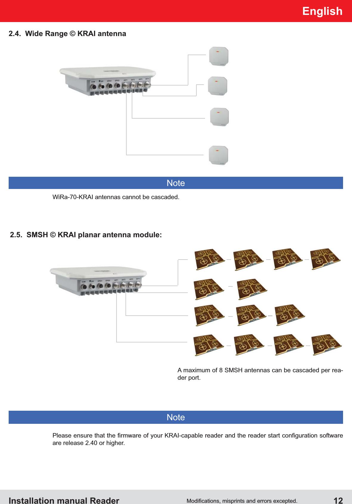 Installation manual Reader  12English2.4.  Wide Range © KRAI antennaare release 2.40 or higher.NoteNoteWiRa-70-KRAI antennas cannot be cascaded.A maximum of 8 SMSH antennas can be cascaded per rea-der port.2.5.  SMSH © KRAI planar antenna module:
