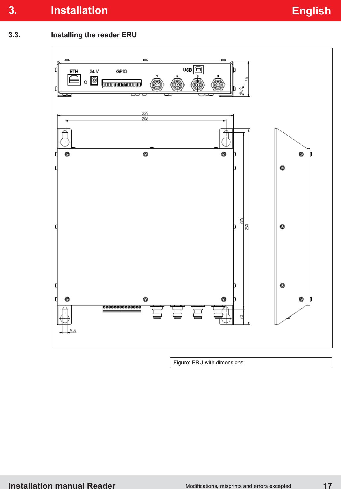 Installation manual Reader  17EnglishFigure: ERU with dimensions3.3.  Installing the reader ERU3. Installation