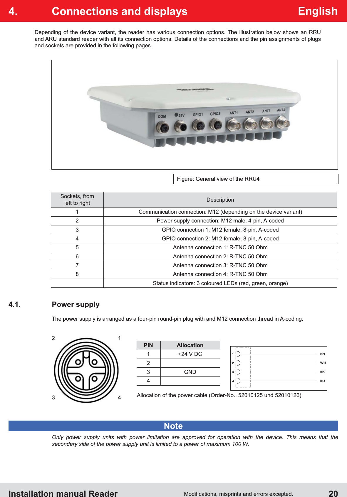 Installation manual Reader  20English4.  Connections and displaysFigure: General view of the RRU42   13   4PIN Allocation1 +24 V DC23 GND4Allocation of the power cable (Order-No.. 52010125 und 52010126)Depending of the device variant, the reader has various connection options. The illustration below shows an RRU and ARU standard reader with all its connection options. Details of the connections and the pin assignments of plugs  and sockets are provided in the following pages.Sockets, from left to right Description1 Communication connection: M12 (depending on the device variant)2 Power supply connection: M12 male, 4-pin, A-coded3 GPIO connection 1: M12 female, 8-pin, A-coded4 GPIO connection 2: M12 female, 8-pin, A-coded5 Antenna connection 1: R-TNC 50 Ohm6 Antenna connection 2: R-TNC 50 Ohm7 Antenna connection 3: R-TNC 50 Ohm8 Antenna connection 4: R-TNC 50 OhmStatus indicators: 3 coloured LEDs (red, green, orange)4.1. Power supplyThe power supply is arranged as a four-pin round-pin plug with and M12 connection thread in A-coding.Only power supply units with power limitation are approved for operation with the device. This means that the  secondary side of the power supply unit is limited to a power of maximum 100 W.Note