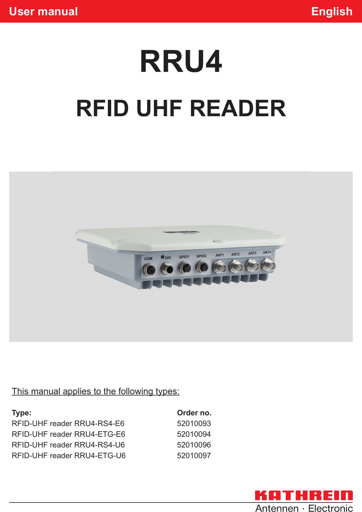Kathrein Sachsen Rru4etgu6 Uhf Rfid Reader User Manual En Stand A Indd Ic