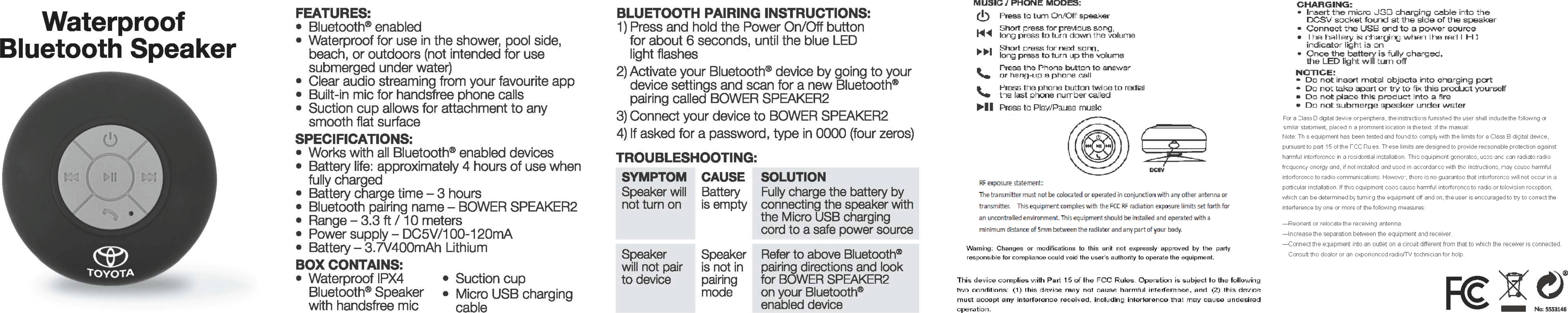 KINGSTAR C-0610 Waterproof Bluetooth Speaker User Manual 15