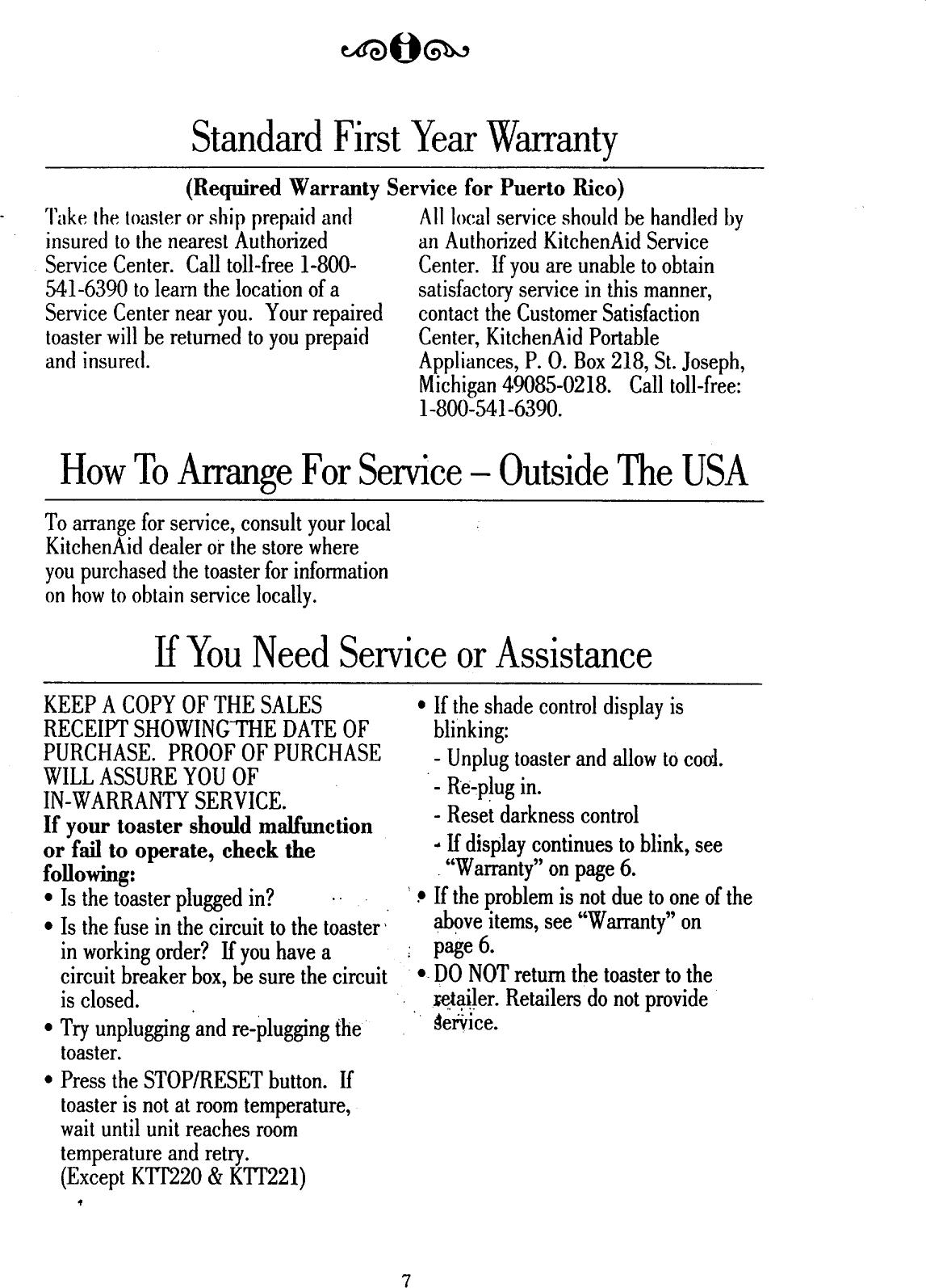 KITCHENAID Toaster Manual 98100035