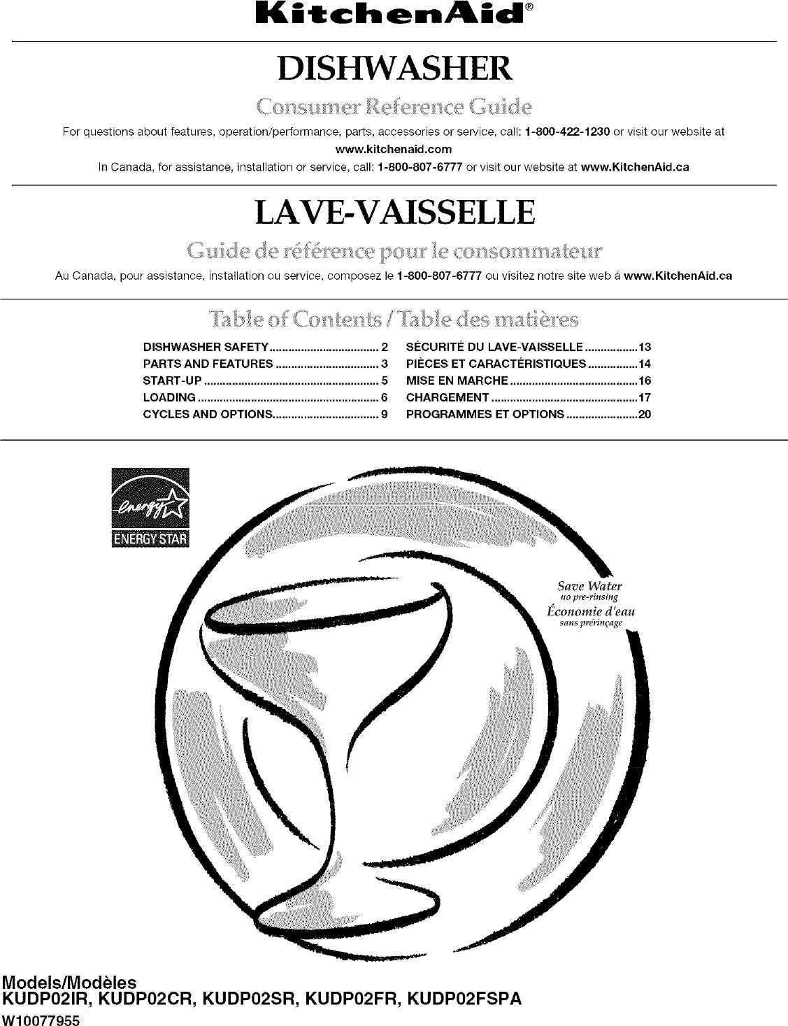 KITCHENAID Dishwasher Manual L0703078