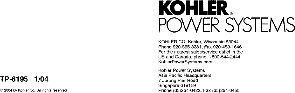 KOHLER Generator Manual L0402312