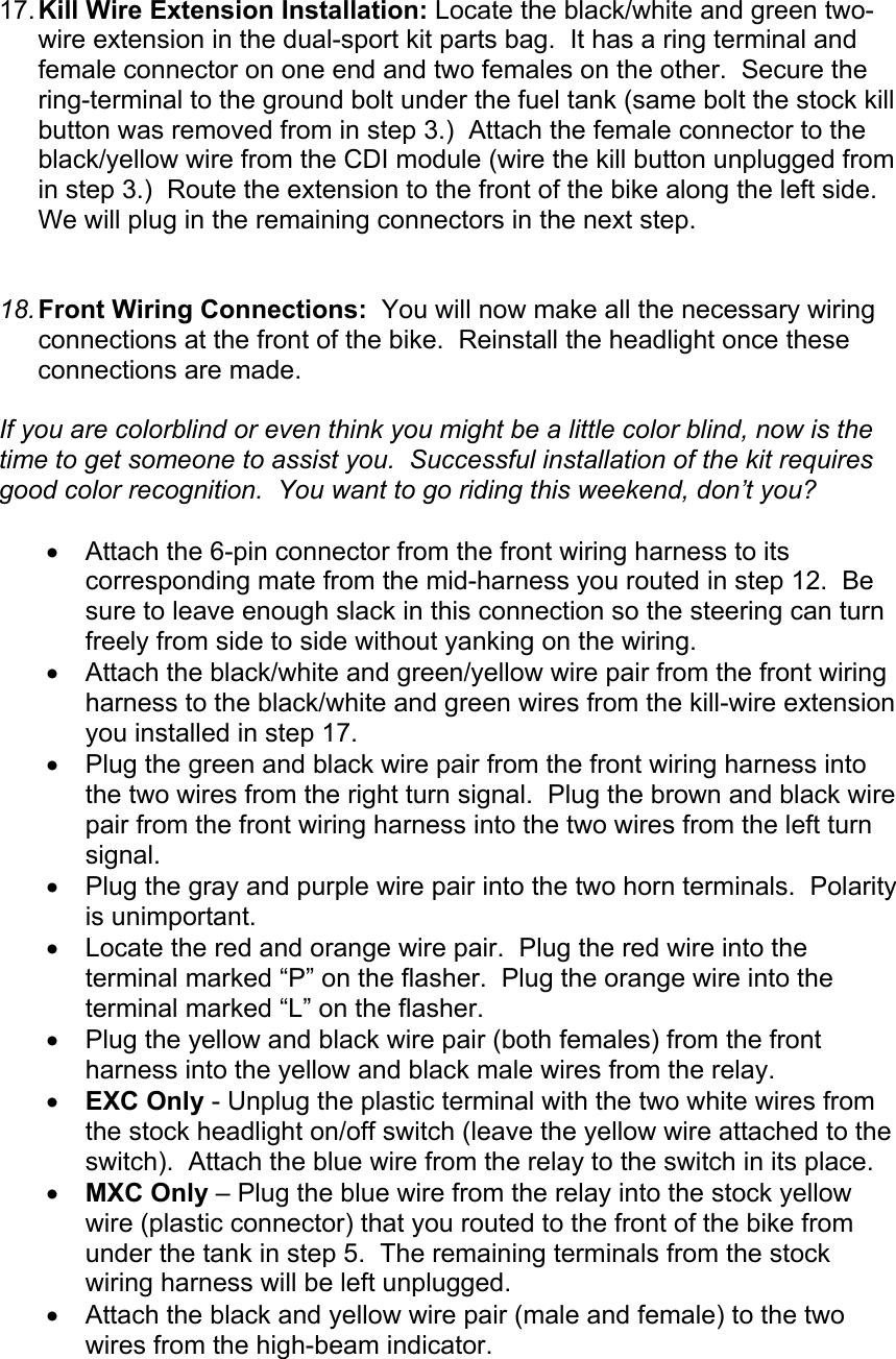 Ktm Dual Sport Kit Installation Manual 04 450 525 Exc User To The Wiring Harness Page 6 Of 10
