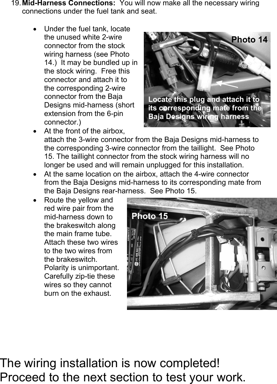 Ktm Dual Sport Kit Installation Manual 04 450 525 Exc User To The Wiring Harness Page 7 Of 10