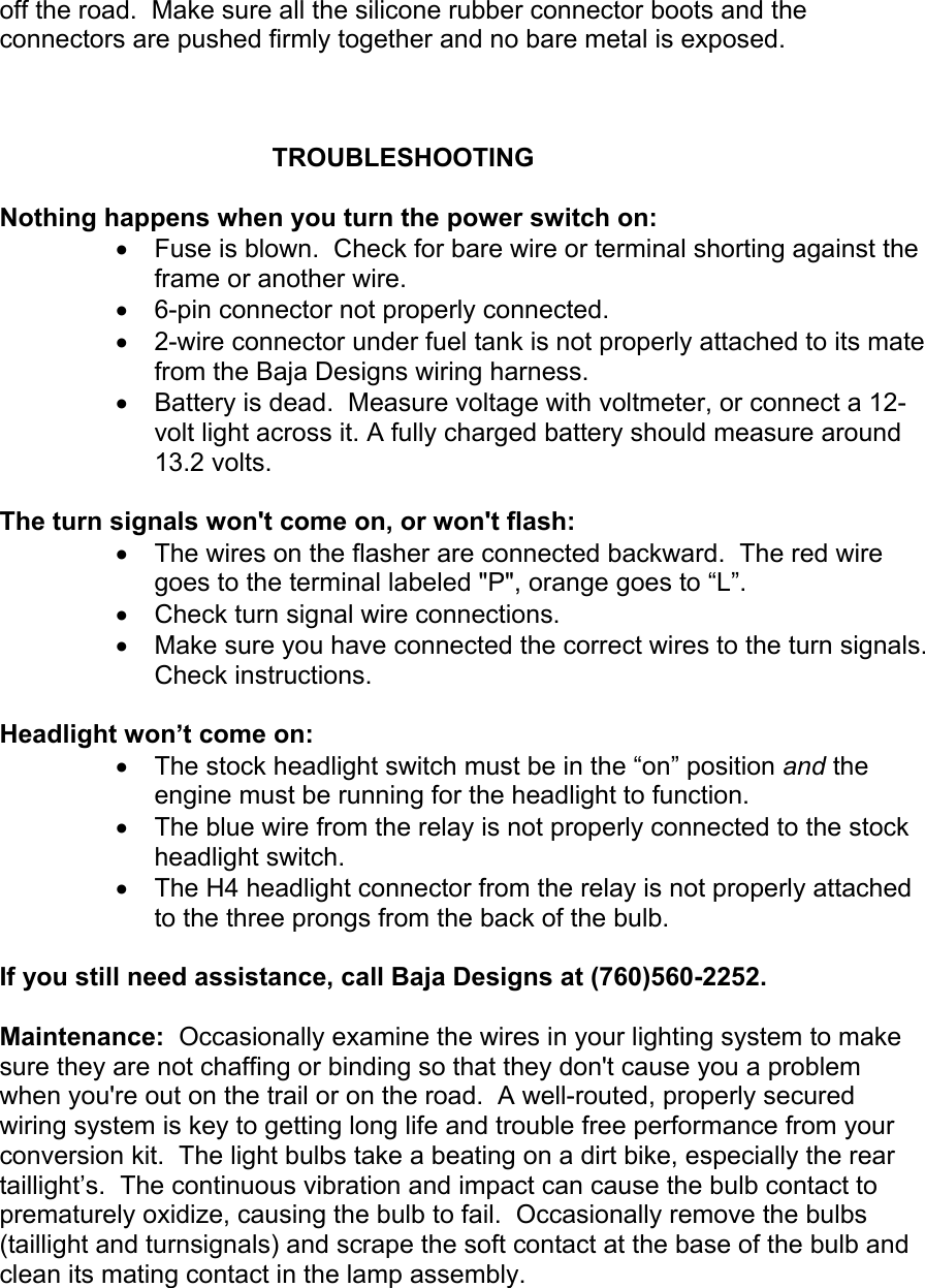 Ktm Dual Sport Kit Installation Manual 04 450 525 Exc User To The Baja Designs Wiring Instructions Page 9 Of 10