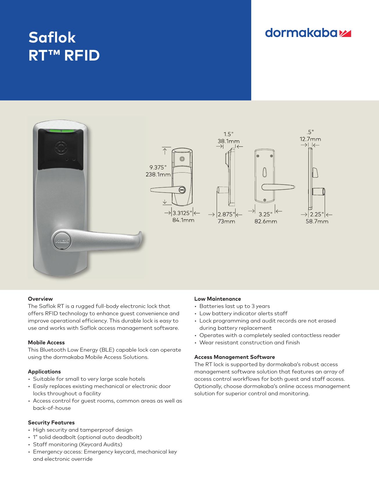 Kaba Saflok RT RFID Fact Sheet Series [M3573] m3573