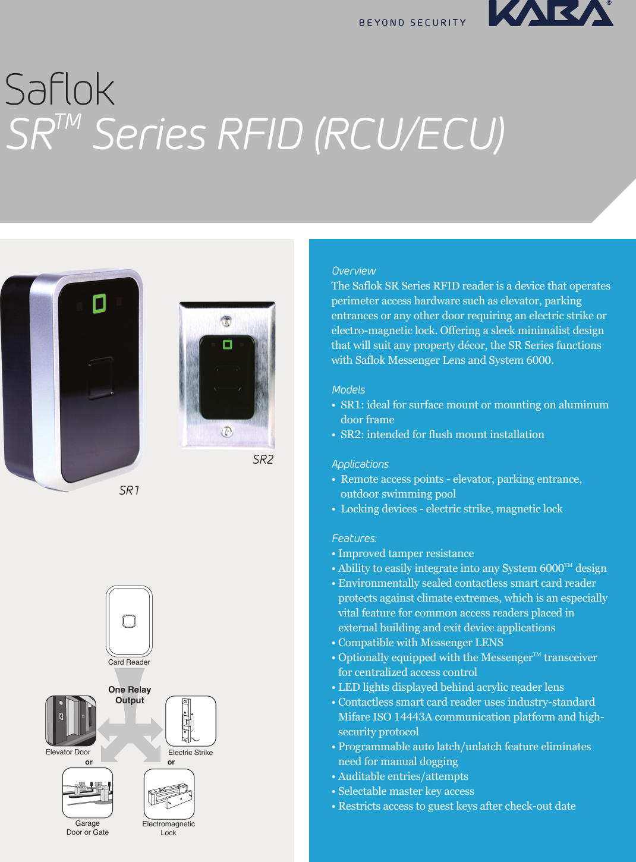 Kaba Saflok Sr Series Rfid Rcu Ecu Fact Sheet M3655 Tm Smartcard Controlled Lock With Relay