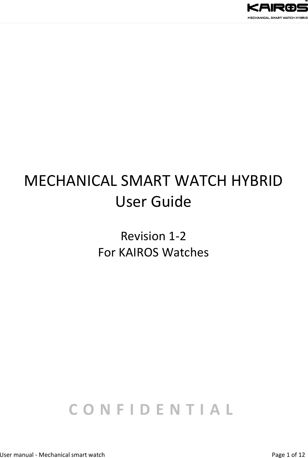 Kairos Watches MSW115SSW158 Mechanical Smart Watch Hybrid User Manual Date
