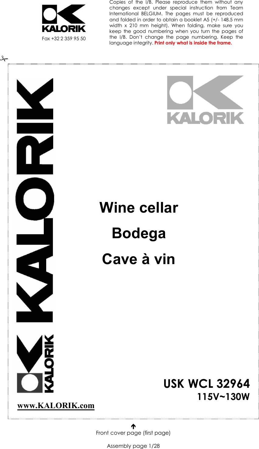 Kalorik Wine Cellar Usk Wcl 32964 115V130W Users Manual ... on