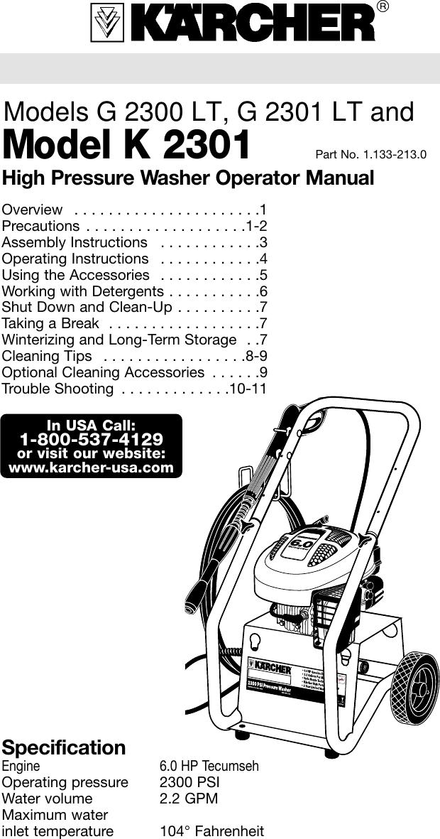 Karcher G 2300 Lt 2301 K Users Manual K2301 Washer