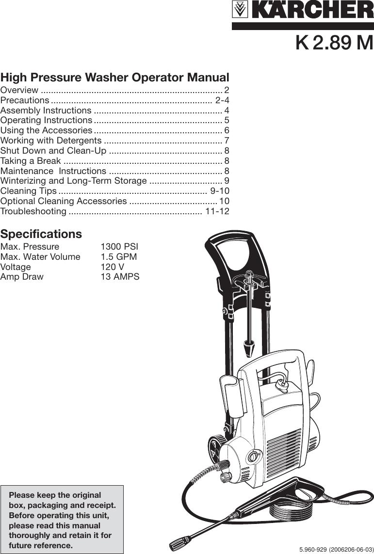 Karcher K 2 89 M Users Manual 5960 797en Drainage Pump Sp 3 Dirt Page 1 Of 12