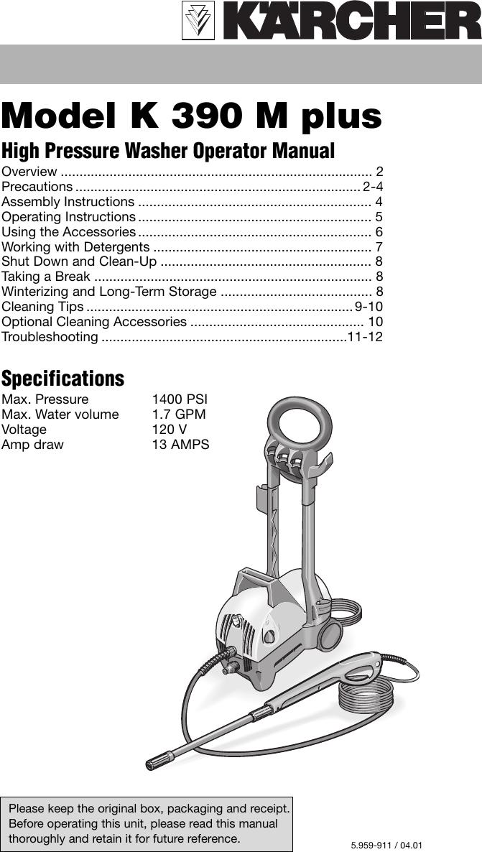 Karcher K 390 M Users Manual 5959 911us