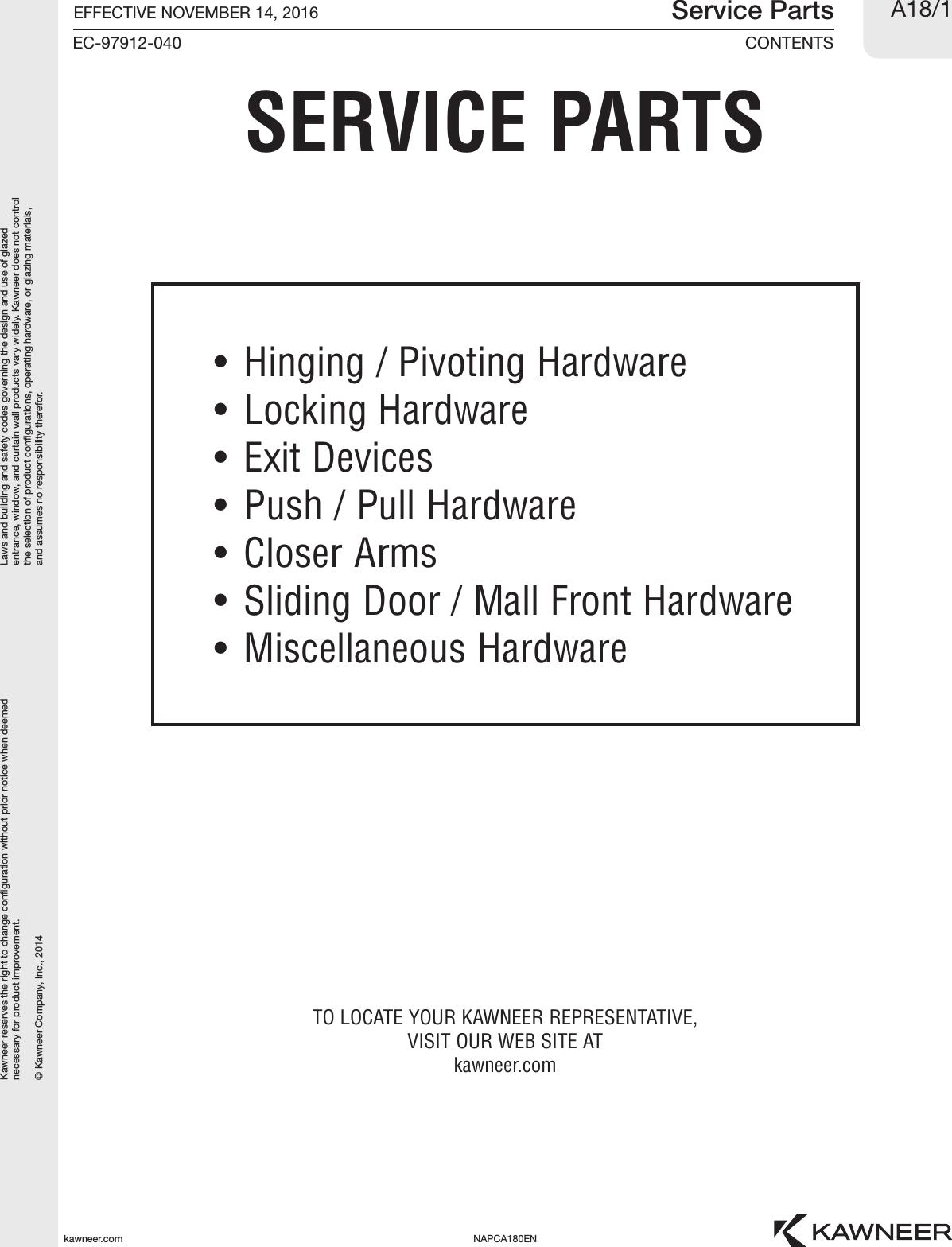 Kawneer Price Book Servicepartscatalog