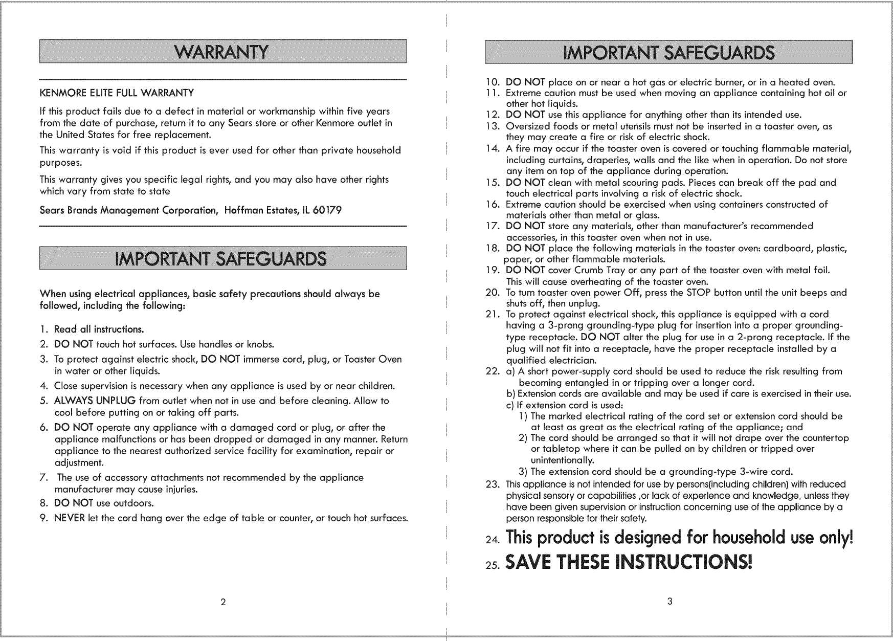 Kenmore Elite 10006905 1109672L User Manual TOASTER OVEN