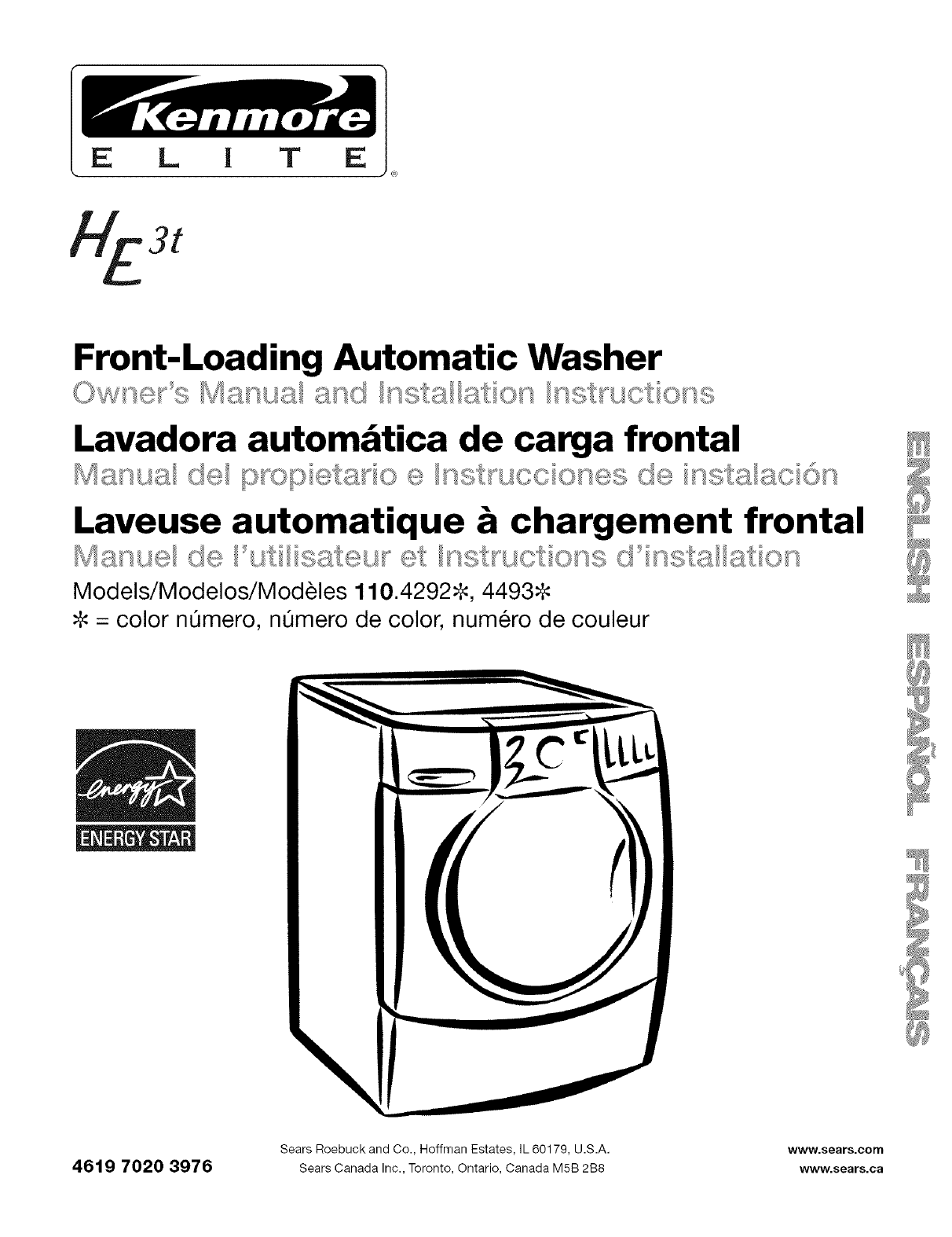 Kenmore Elite 11042926200 User Manual WASHER Manuals And Guides L0606171