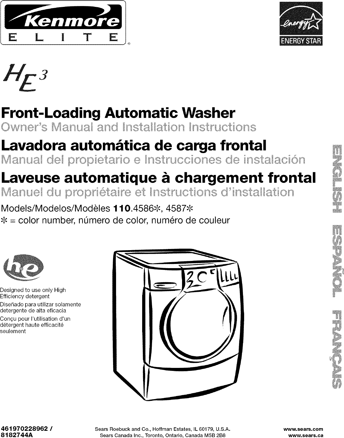 Kenmore Elite 11045862402 User Manual RESIDENTIAL WASHER Manuals And ...