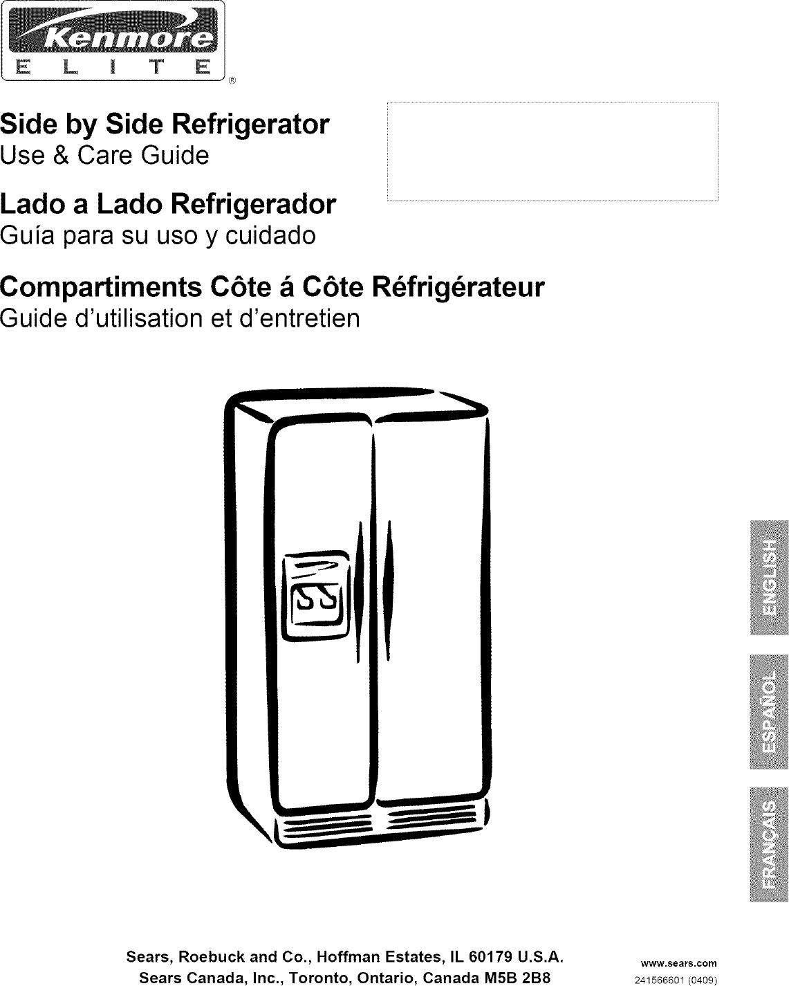 Kenmore Elite 25344383401 User Manual Refrigerator Manuals