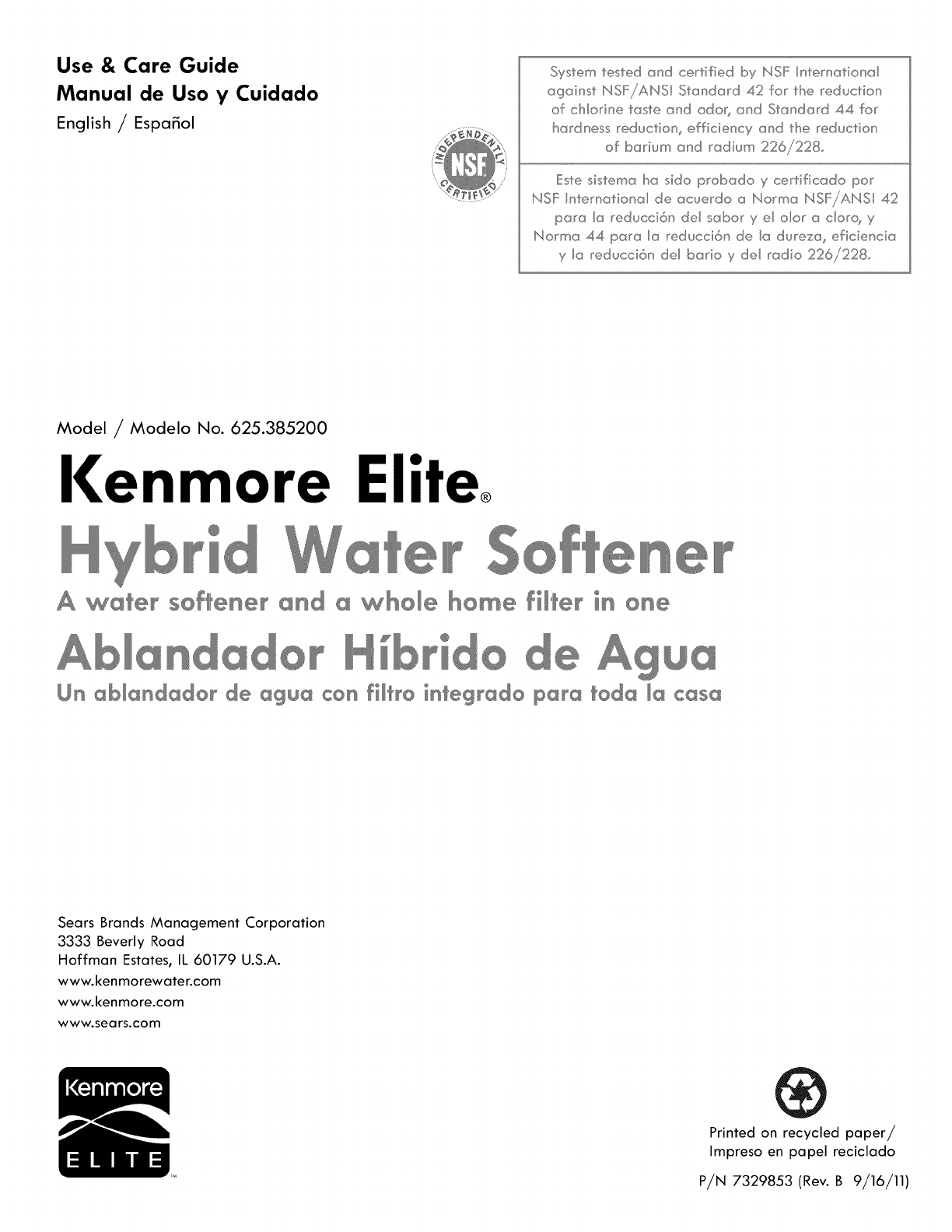 Kenmore Elite 625385200 User Manual Water Softener Manuals And Wiring Schematic Guides 1109715l
