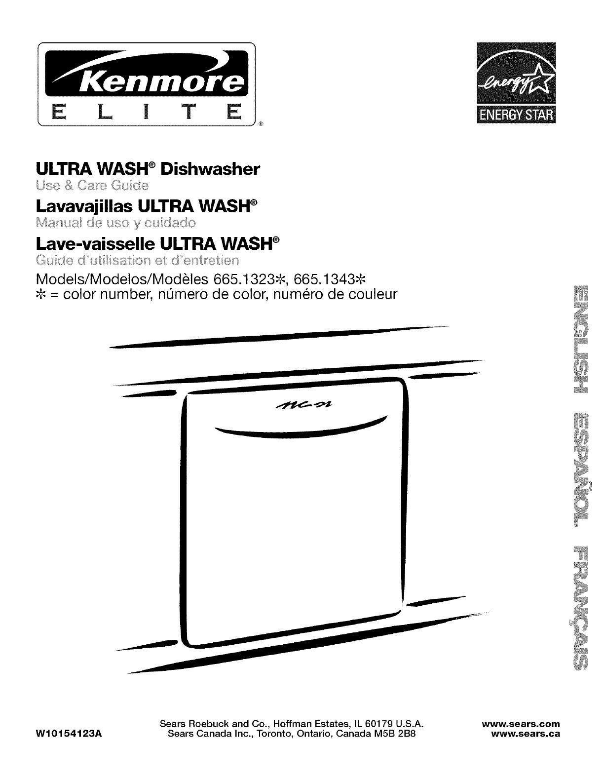 Kenmore Elite 66513232K700 User Manual DISHWASHER Manuals And Guides  L0801786
