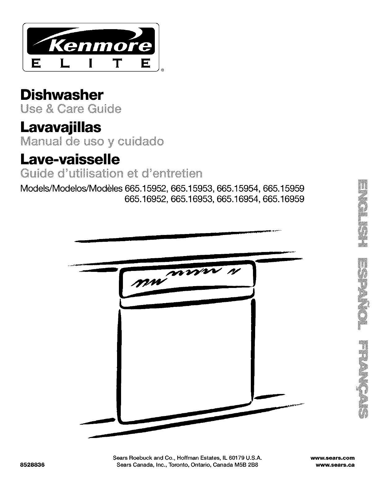 Kenmore Elite 66515953000 User Manual DISHWASHER Manuals And Guides L0212116