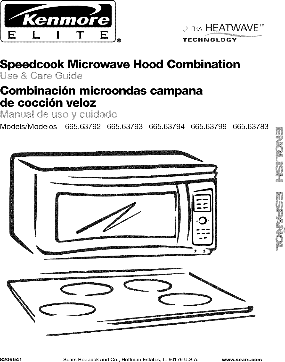 Kenmore Elite 66563792305 User Manual Microwave Hood Combo
