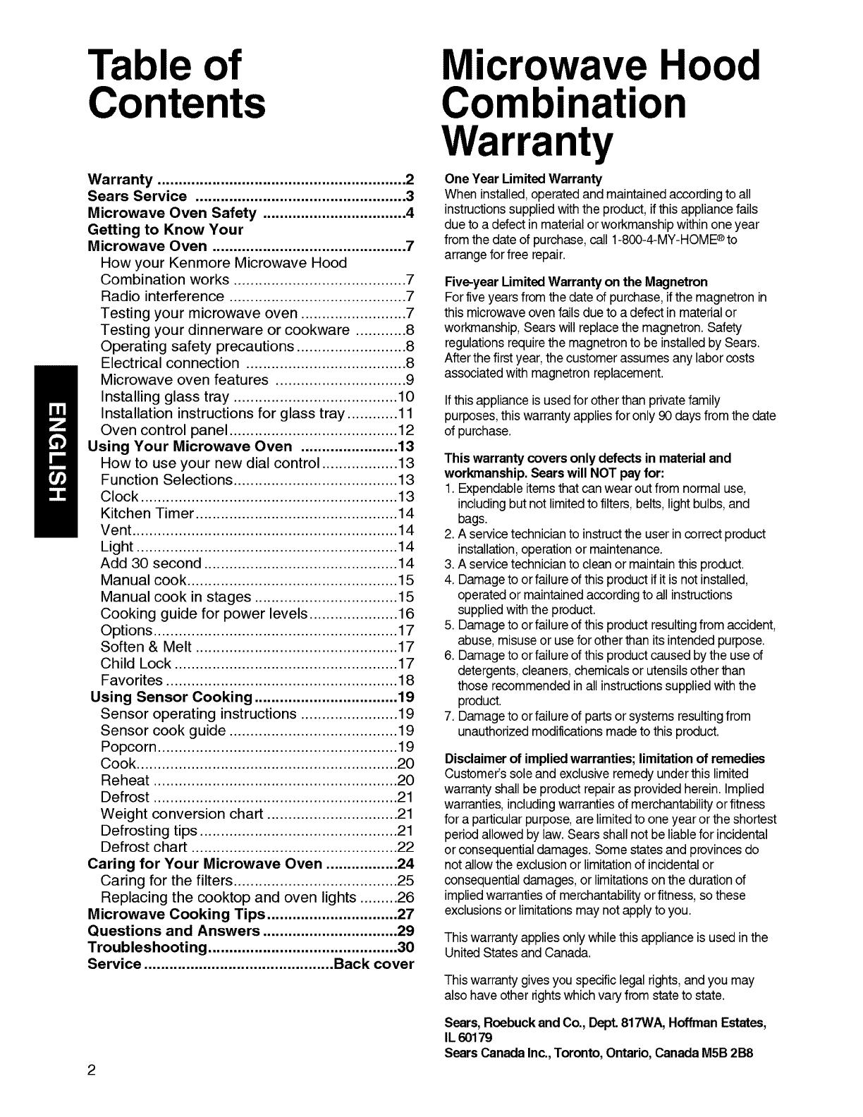User Manual Microwave Range Hood